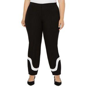 Black Colorblock Hem Ankle Pants 22W